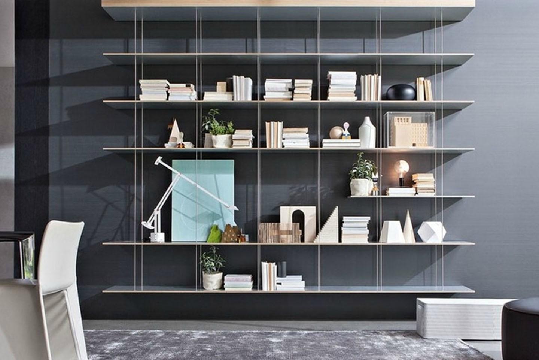 libreria sospesa graduate molteni cavi acciaio