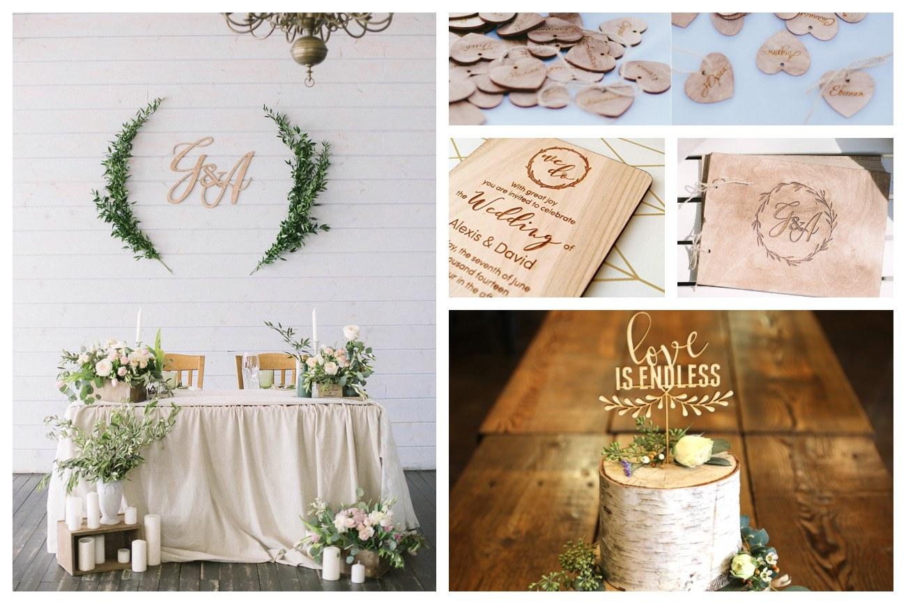 decorazioni per matrimoni legno